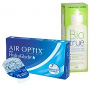 Акция (Air Optix plus Hydra Glyde 4 шт. + Bio true 360 ml.)