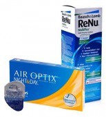 АКЦИЯ Focus (Air optix) Night & Day aqua 4 шт. + ReNu 360 ml.