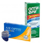 АКЦИЯ Focus (Air optix) Night & Day aqua 4 шт. + Экспресс OPTI - FREE 355 ml.)
