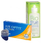 АКЦИЯ Focus (Air optix) Night & Day aqua 4 шт. + Bio true 360 ml.